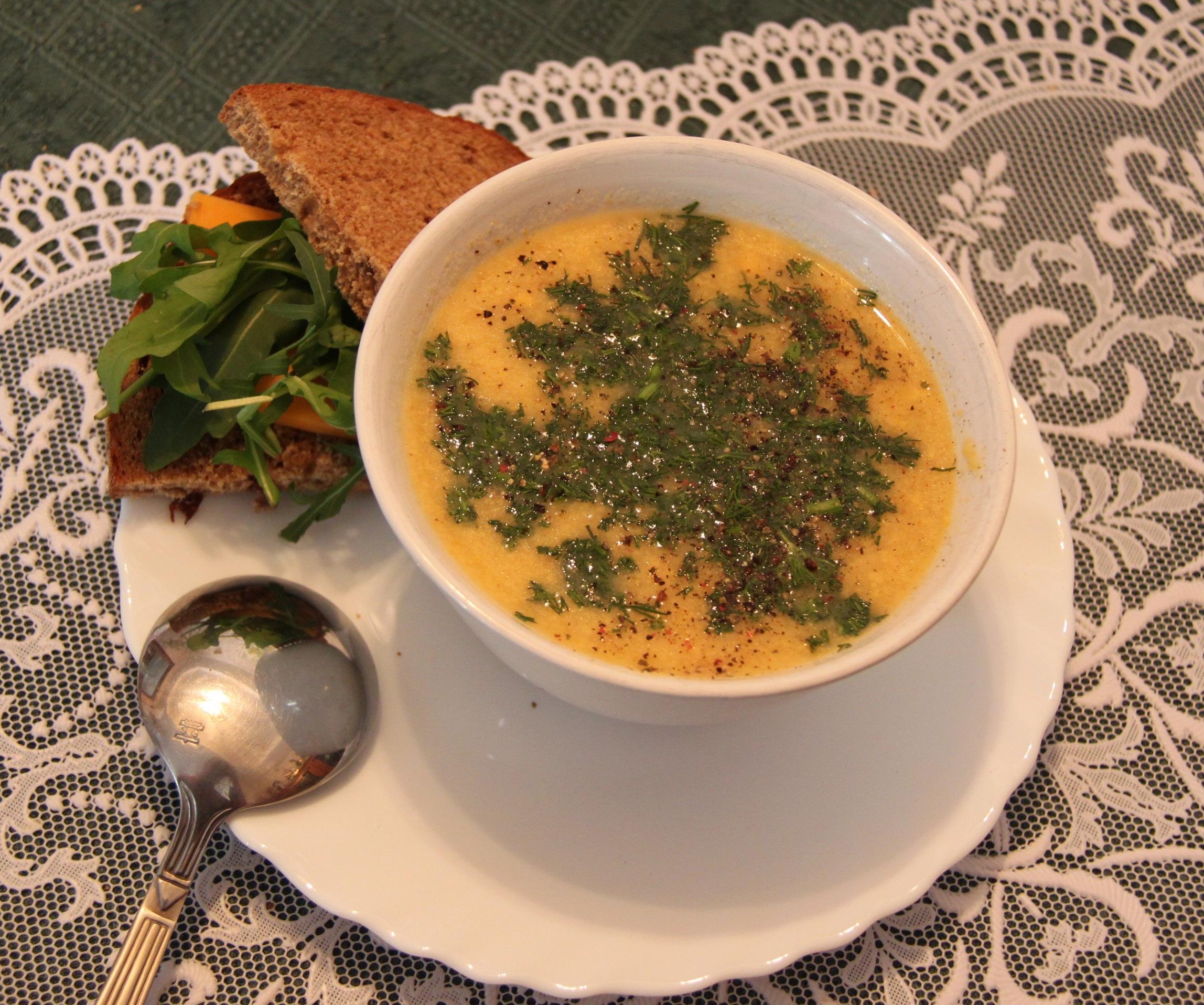 Овощной суп пюре с сыром