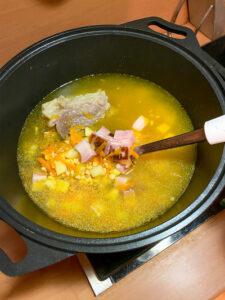 суп гороховый готовим в печи